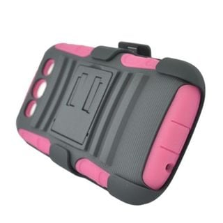 Insten Hot Pink/ Black Advanced Armor Hard PC/ Silicone Dual Layer Hybrid Case Cover with Stand For Samsung Galaxy S3 GT-i9300