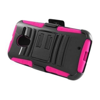 Insten Black/ Hot Pink Advanced Armor Hard PC/ Silicone Dual Layer Hybrid Case Cover with Stand For Motorola Moto X 1st Gen