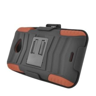 Insten Black/ Brown Advanced Armor Hard PC/ Silicone Dual Layer Hybrid Case Cover with Stand/ Holster For HTC EVO 4G LTE