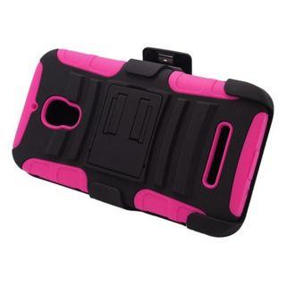 Insten Black/ Hot Pink Advanced Armor Hard PC/ Silicone Dual Layer Hybrid Case Cover with Stand For Alcatel One Touch Fierce