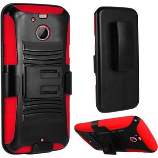 Insten Black/ Red Hard PC/ Silicone Dual Layer Hybrid Case Cover with Holster For HTC 10/ 10 EVO / Bolt