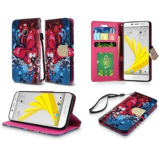 Insten Red/ Blue Butterfly Bliss Leather Case Cover Lanyard with Stand/ Wallet Flap Pouch/ Diamond For HTC 10/ 10 EVO / Bolt