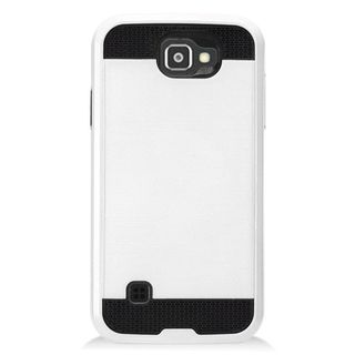 Insten Silver/ Black Chrome Hard Plastic Dual Layer Hybrid Brushed Case Cover For LG K3 (2016) LS450
