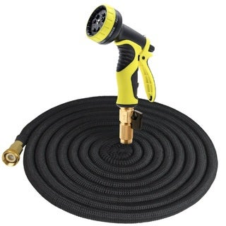 Tespressolife 50ft Expandable Multi-purpose Garden Hose with brass connector and 9 patterns spray nozzle