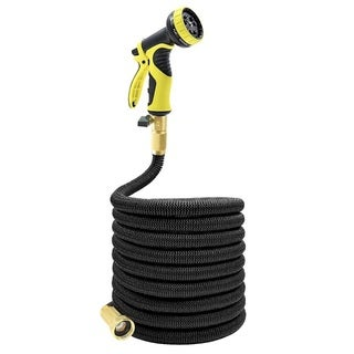 Tespressolife 25ft Expandable Multi-purpose Garden Hose with brass connector and 9 patterns spray no