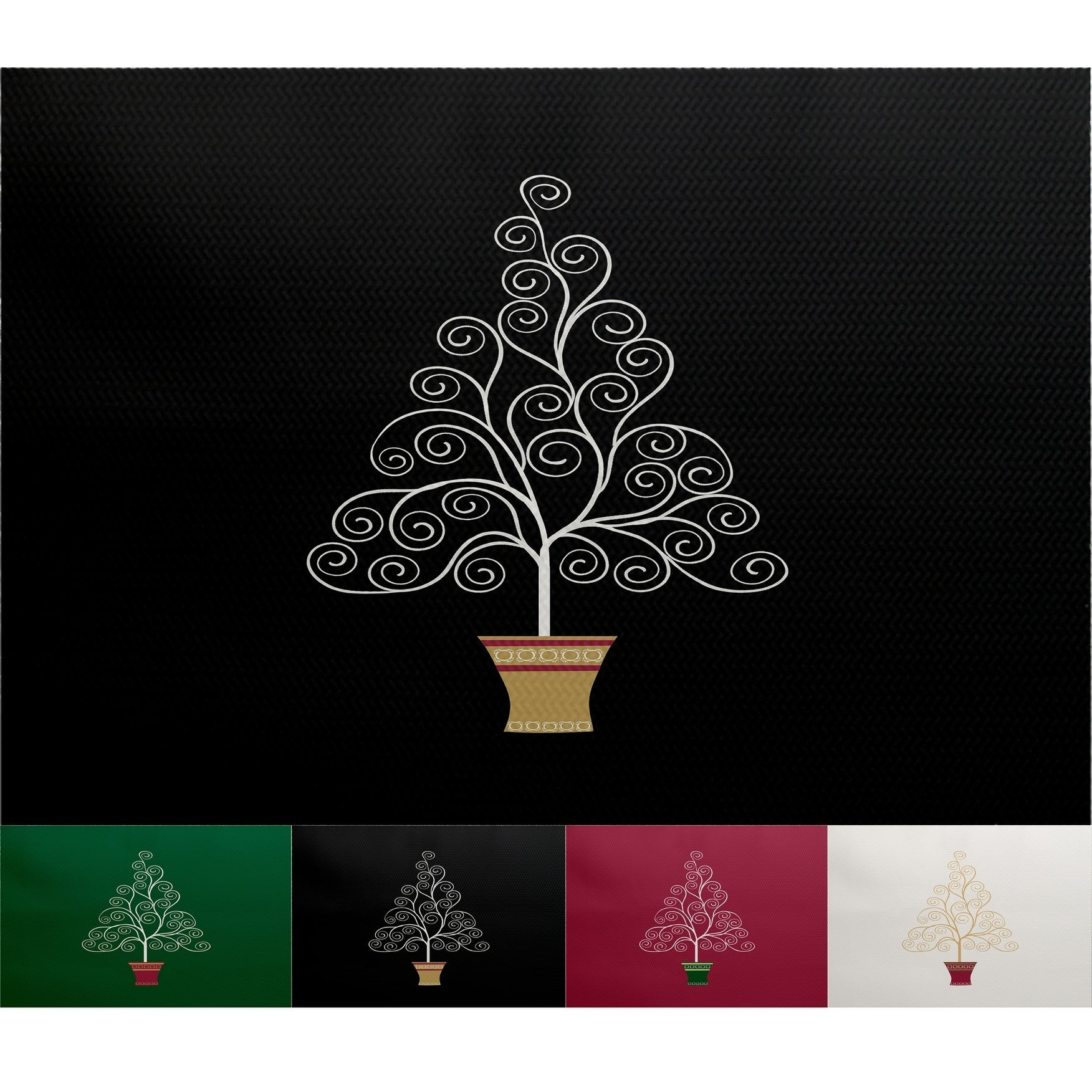 Filigree Tree Black Geometric Print Indoor/Outdoor Rug (2\u0027 x 3 ...
