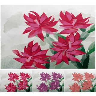 Christmas Cactus Coral Floral Print Indoor/Outdoor Rug (2' x 3')