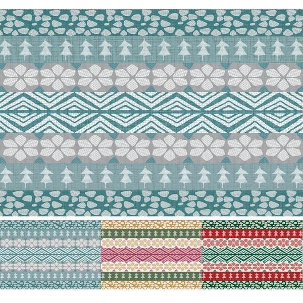 Shop FairIsle Teal Geometric Print Indoor/Outdoor Rug (2
