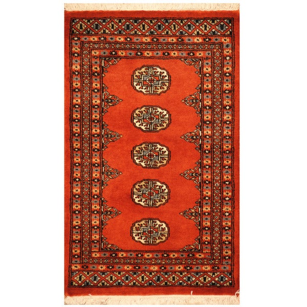 Persian Bokhara Hand Knotted Wool Area Rug: Herat Oriental Pakistani Hand-knotted Bokhara Wool Rug (2