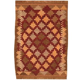Herat Oriental Afghan Hand-woven Mimana Kilim Wool Rug (2' x 3')