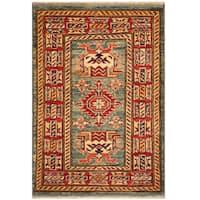 Herat Oriental Afghan Hand-knotted Tribal Super Kazak Wool Rug (2'1 x 2'10)