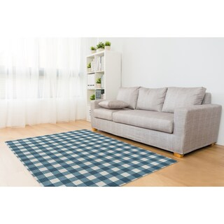 Kavka Designs Blue Gingham Blue/ Ivory Area Rug (8'X10') - 8' x 10'