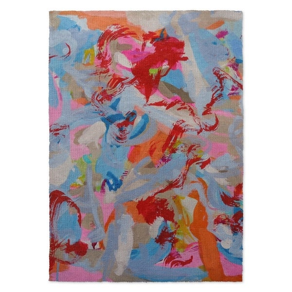 Kavka Designs Third World Redneck Blue/ Orange/ Red/ Pink/ Grey Area Rug (8'X10') - Multi - 8' x 10'