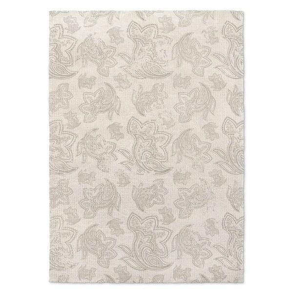 Kavka Designs Paisley Gray Distressed Grey/ Ivory Area Rug (8'X10') - 8' x 10'