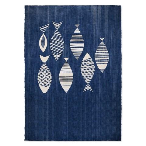 Kavka Designs Fish Blue/ Ivory Area Rug ( 3'X5' ) - 3' x 5'
