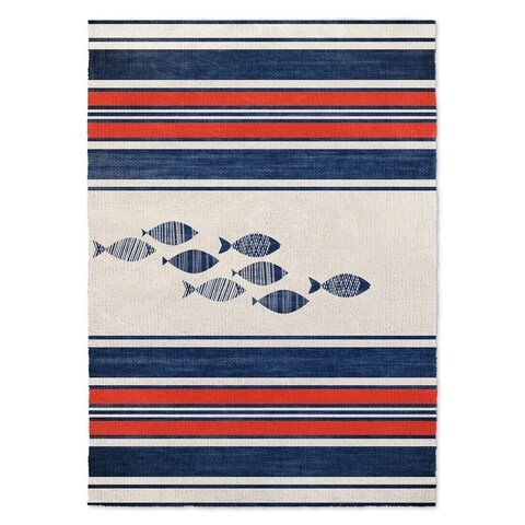 Kavka Designs Blue Fish Blue/ Red/ White Area Rug ( 3'X5' ) - 3' x 5'