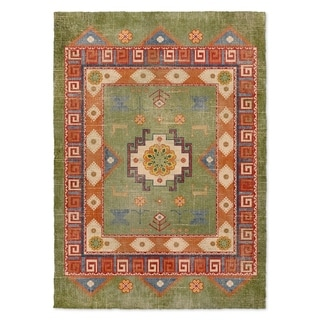 Kavka Designs Oma Green/ Orange/ Blue Area Rug ( 3'X5' ) - 3' x 5'
