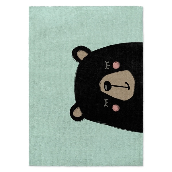 Kavka Designs Bear Blue/ Black/ Pink Accent Rug - 2' x 3'