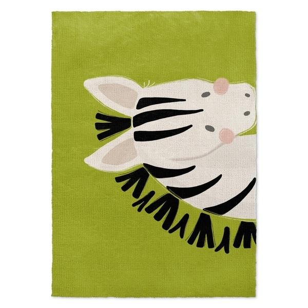 Kavka Designs Zebra Green/ Black/ White Accent Rug - 2' x 3'