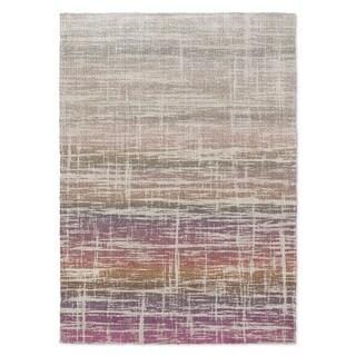 Kavka Designs Death Valley Tan/ Ivory/ Purple/ Orange Accent Rug (2' X 3') - 2' x 3'