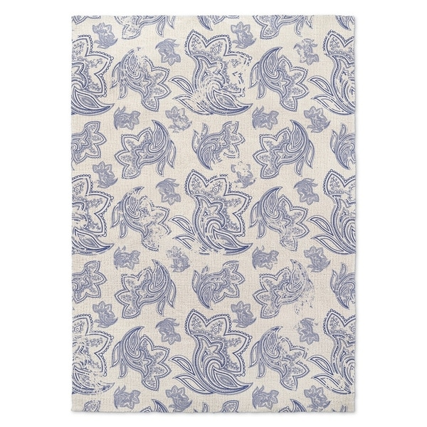 Kavka Designs Paisley Distressed Blue/ Ivory Accent Rug - 2' x 3'