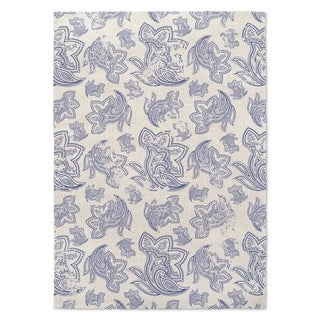 Kavka Designs Paisley Distressed Blue/ Ivory Accent Rug (2' X 3') - 2' x 3'