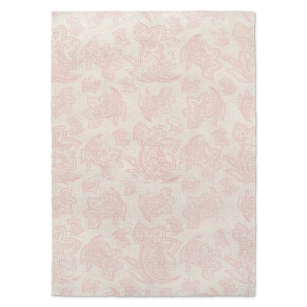 Kavka Designs Paisley Distressed Pink/ Ivory Accent Rug (2' X 3') - 2' x 3'