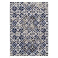 Kavka Designs Blue Tile Blue Accent Rug (2' X 3') - 2' x 3'