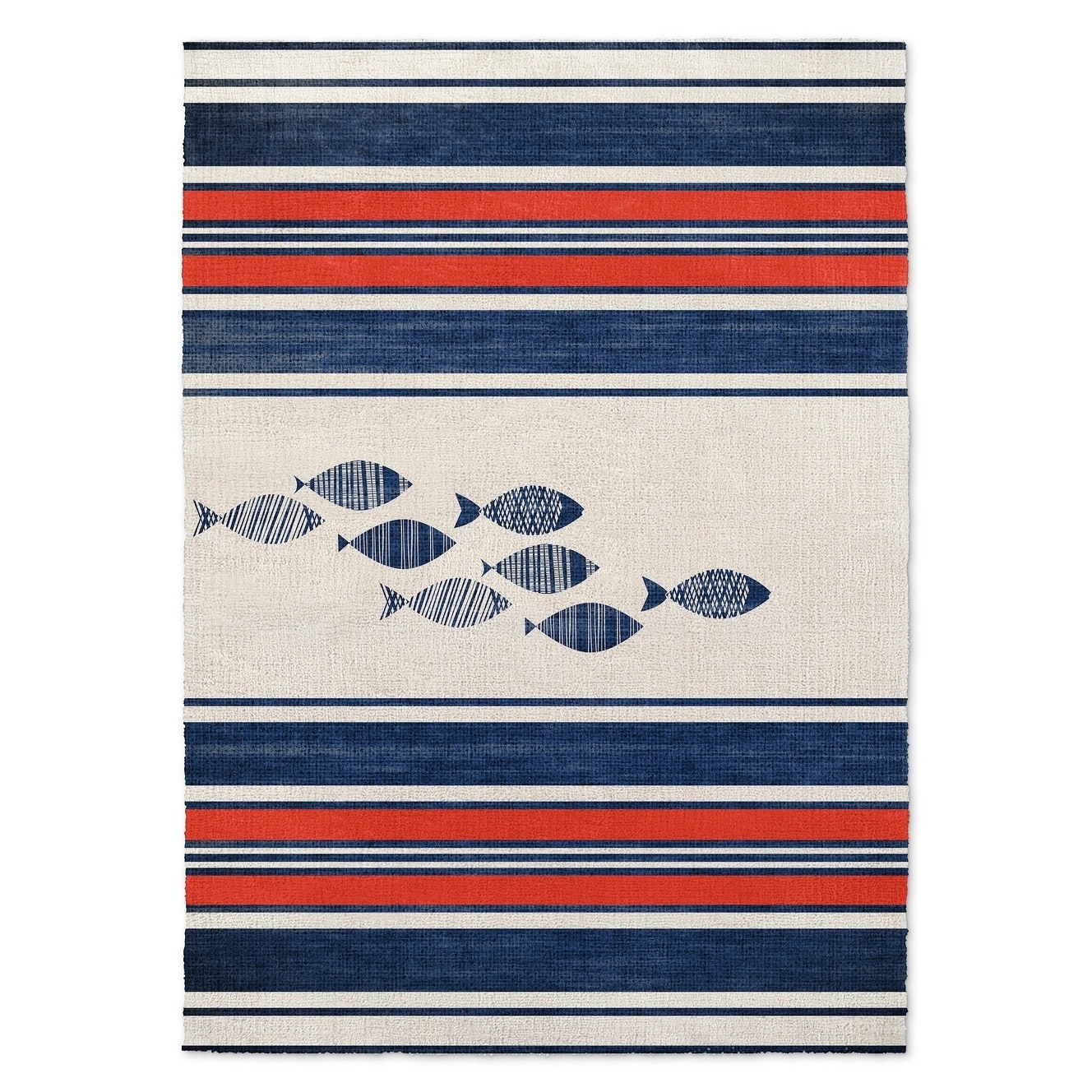 Kavka Designs Blue Fish Blue Red White Accent Rug 2 X 3 2 X 3 Overstock 16925822