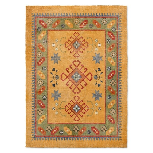 Kavka Designs Baize Orange/ Green/ Red Accent Rug (2' X 3') - 2' x 3'