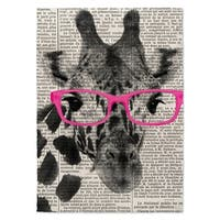Kavka Designs Giraffe In Glasses Pink/ Black/ White Accent Rug - 2' x 3'