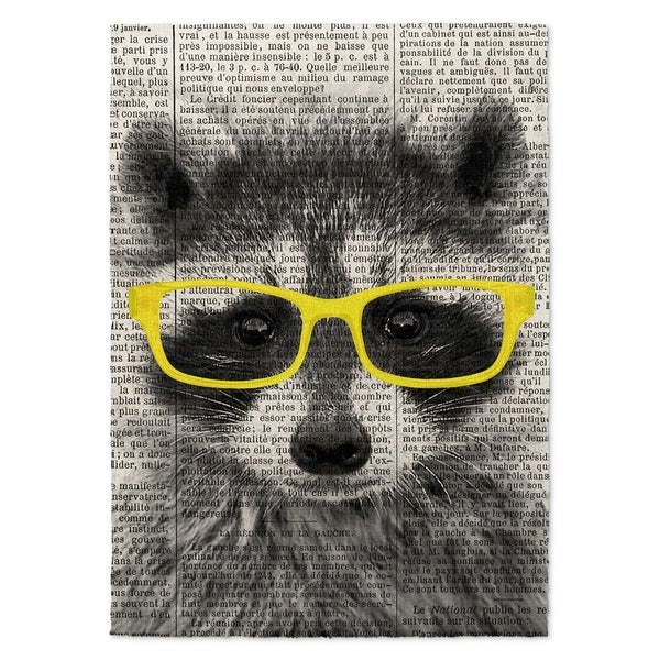 Kavka Designs Racoon In Yellow Glasses Yellow/ Black/ White Accent Rug - 2' x 3'