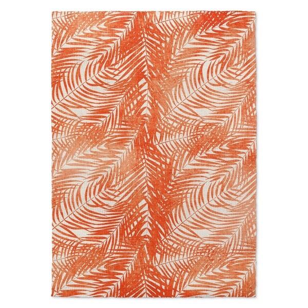 Kavka Designs Orange Palm Orange/ White Accent Rug (2' X 3') - 2' x 3'
