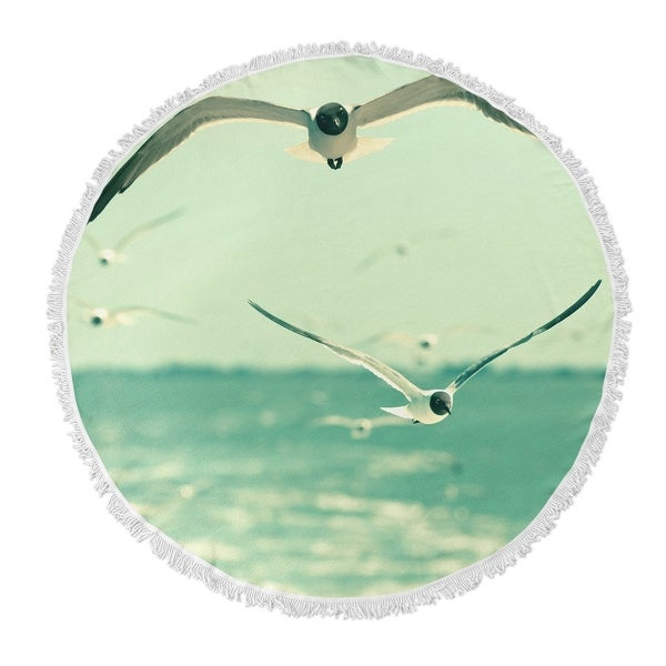 "Kavka Designs Gulls Blue/ Grey/ White 60""X60"" Round Beach Towel"