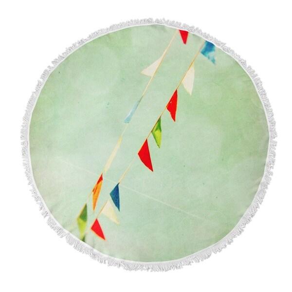 "Kavka Designs Flags Blue/ Green/ Red 60""X60"" Round Beach Towel"