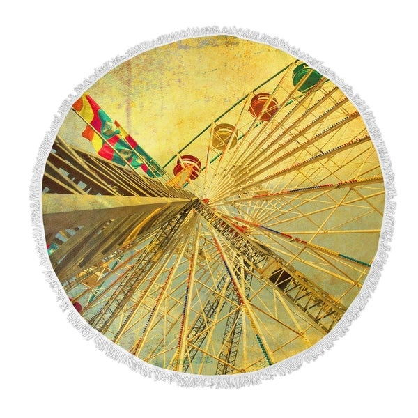 "Kavka Designs Eyes Skyward Yellow/ Tan/ Red/ Green 60""X60"" Round Beach Towel"