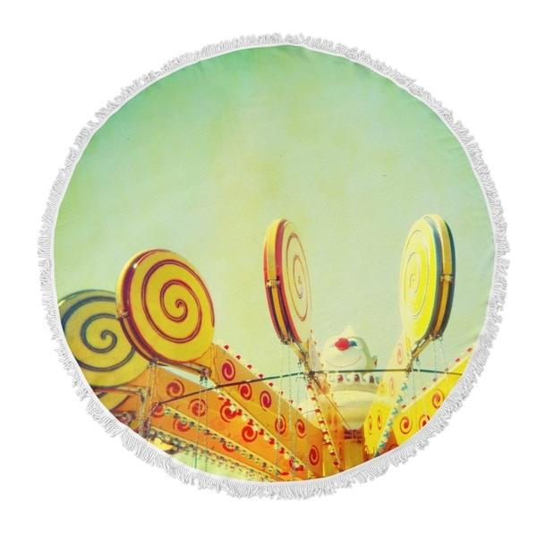 "Kavka Designs Lollypop Love Green/ Yellow/ Blue 60""X60"" Round Beach Towel"