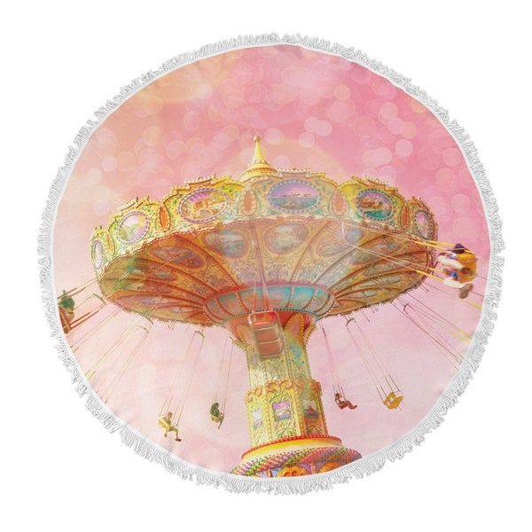 """Kavka Designs Summer Love Pink/ Orange/ Tan 60""""X60"""" Round Beach Towel"""