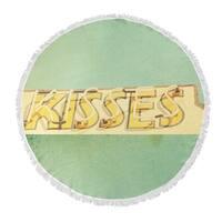 "Kavka Designs Kisses Yellow/ Green/ Blue 60""X60"" Round Beach Towel"