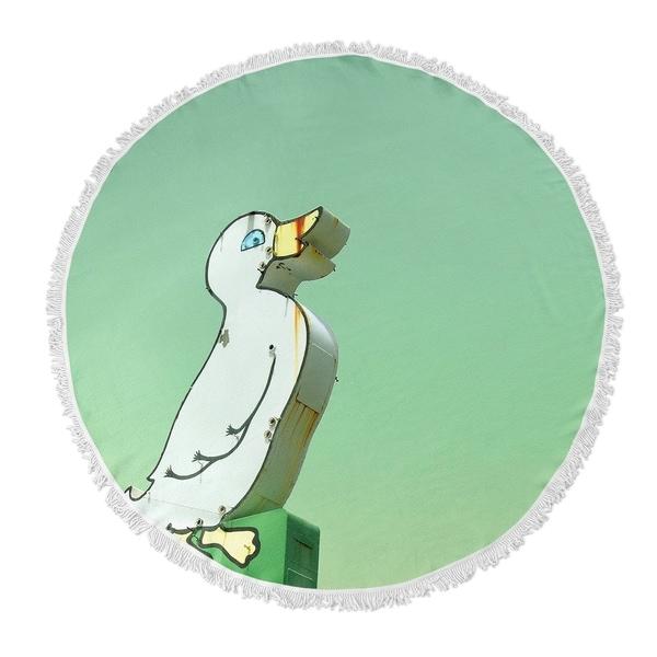 "Kavka Designs Quack Green/ Yellow/ White 60""X60"" Round Beach Towel"
