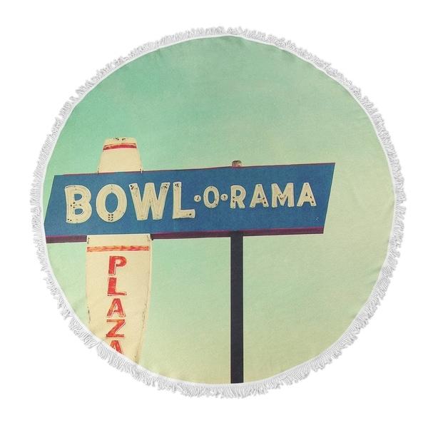 "Kavka Designs Bowl O Rama Blue/ Green/ Red/ Ivory 60""X60"" Round Beach Towel"