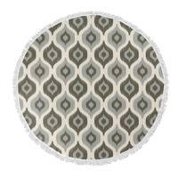 "Kavka Designs Harmony Grey/ Ivory 60""X60"" Round Beach Towel"