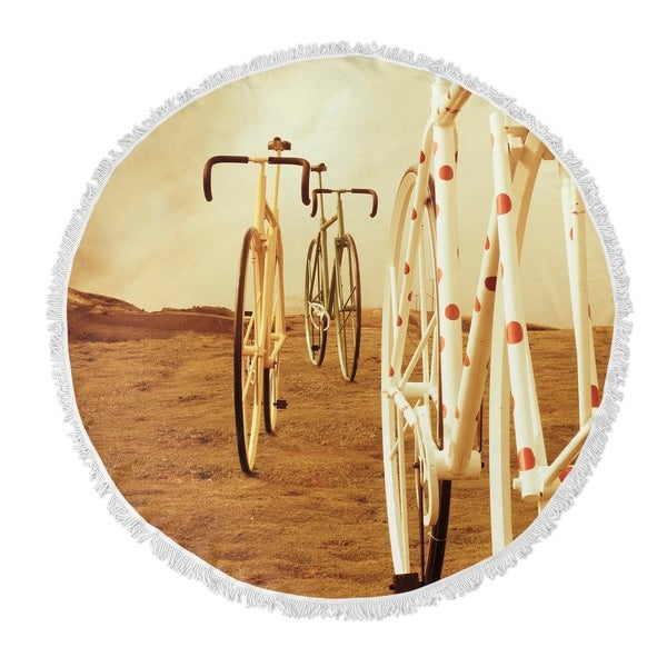 "Kavka Designs Ride On Brown/ Tan/ Red/ Ivory 60""X60"" Round Beach Towel"
