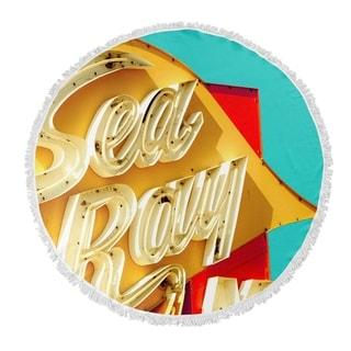 "Kavka Designs Sea Ray Yellow/ Red/ Blue/ Ivory 60""X60"" Round Beach Towel"