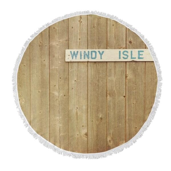 "Kavka Designs Windy Isle Brown/ Ivory/ Blue 60""X60"" Round Beach Towel"