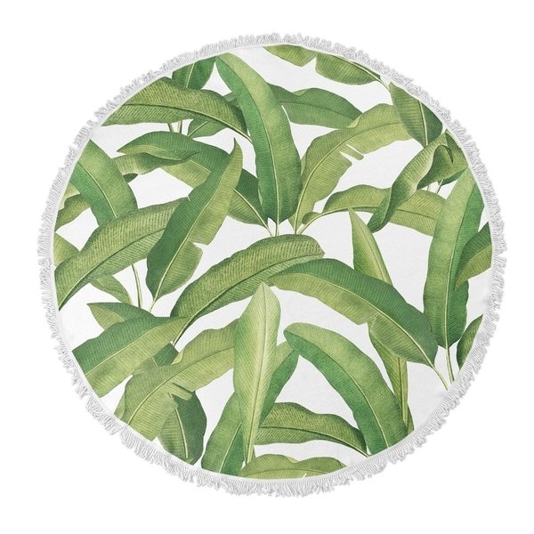 "Kavka Designs Banana Leaves Green 60""X60"" Round Beach Towel"