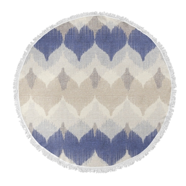 "Kavka Designs Aria Blue/ Ivory/ Tan 60""X60"" Round Beach Towel"