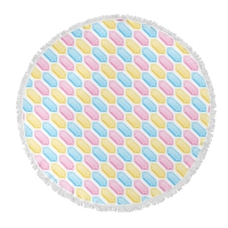 "Kavka Designs Gems Pink/ Blue/ Yellow 60""X60"" Round Beach Towel"