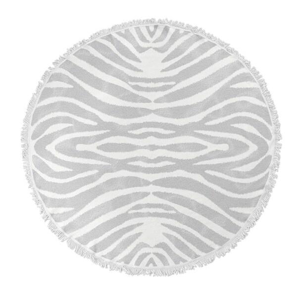 "Kavka Designs Safari Grey/ Ivory 60""X60"" Round Beach Towel"