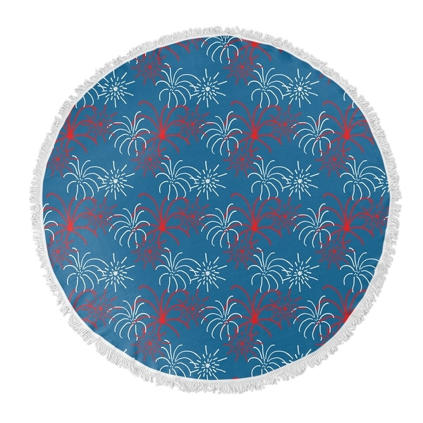 "Kavka Designs Fireworks Red/Blue 60""X60"" Round Beach Towel"